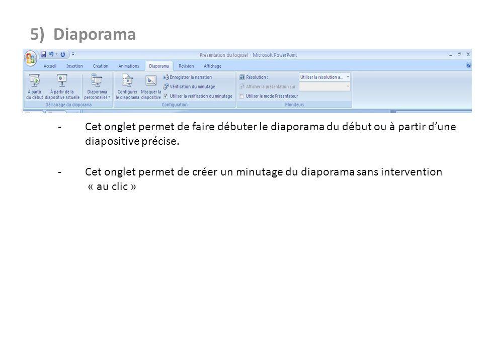 5) Diaporama - Cet onglet permet de faire débuter le diaporama du début ou à partir d'une diapositive précise.