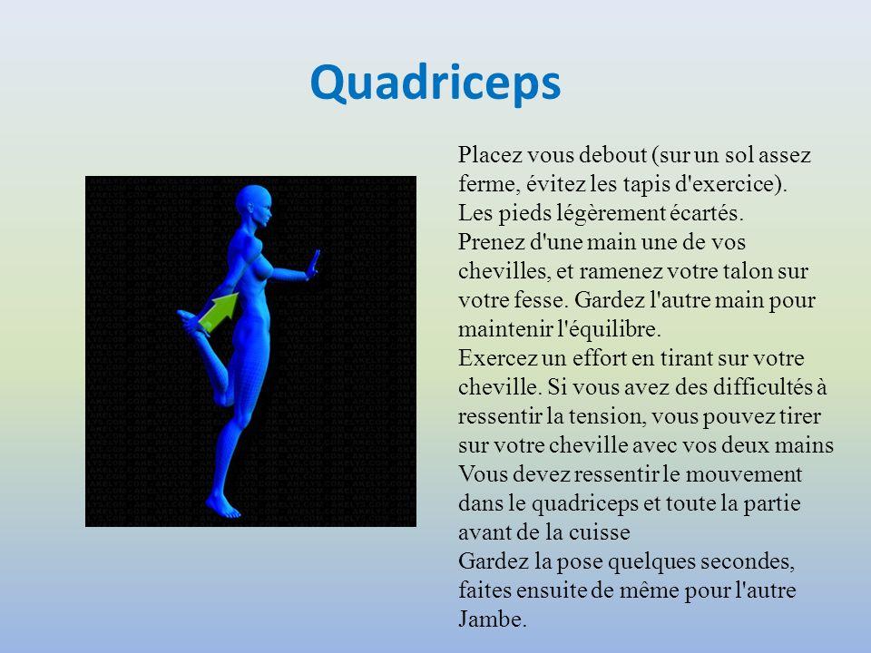 Quadriceps Placez vous debout (sur un sol assez ferme, évitez les tapis d exercice). Les pieds légèrement écartés.