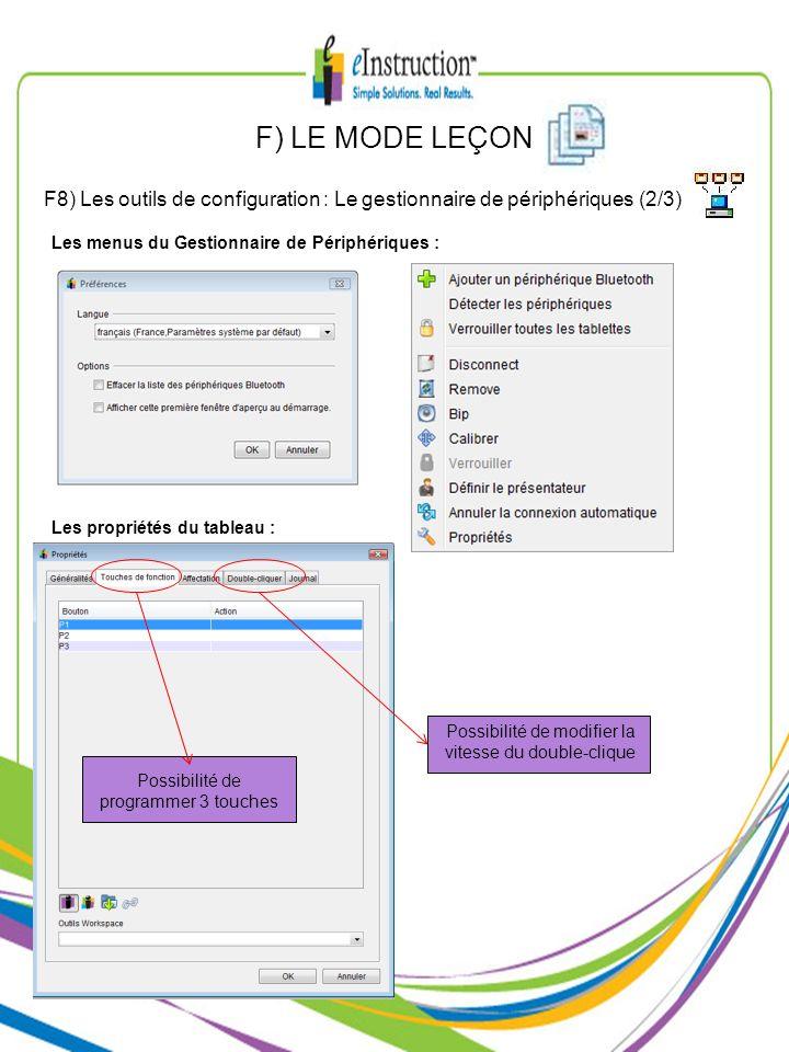 F) LE MODE LEÇONF8) Les outils de configuration : Le gestionnaire de périphériques (2/3) Les menus du Gestionnaire de Périphériques :