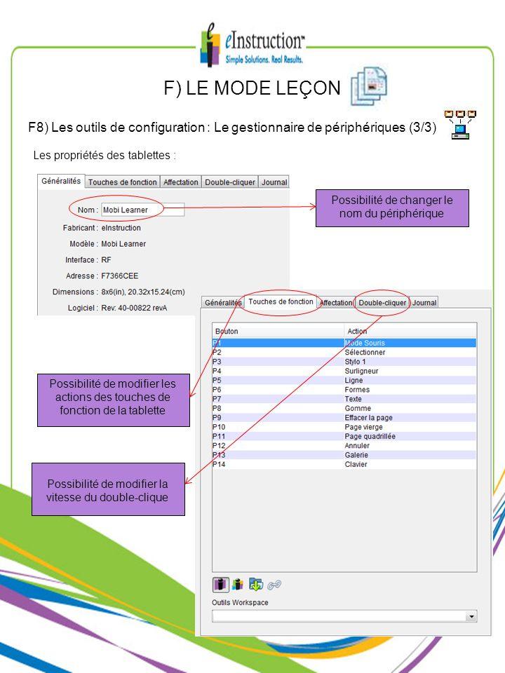 F) LE MODE LEÇONF8) Les outils de configuration : Le gestionnaire de périphériques (3/3) Les propriétés des tablettes :