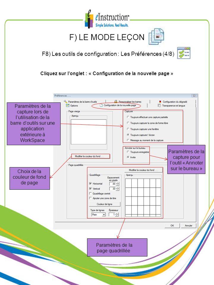 Cliquez sur l'onglet : « Configuration de la nouvelle page »