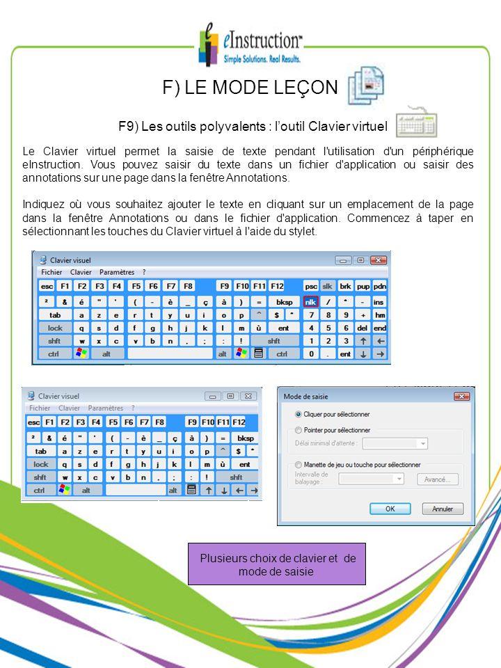 F) LE MODE LEÇON F9) Les outils polyvalents : l'outil Clavier virtuel