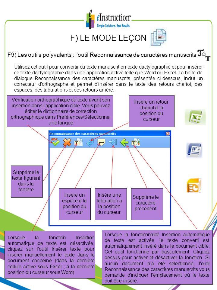 F) LE MODE LEÇON F9) Les outils polyvalents : l'outil Reconnaissance de caractères manuscrits.