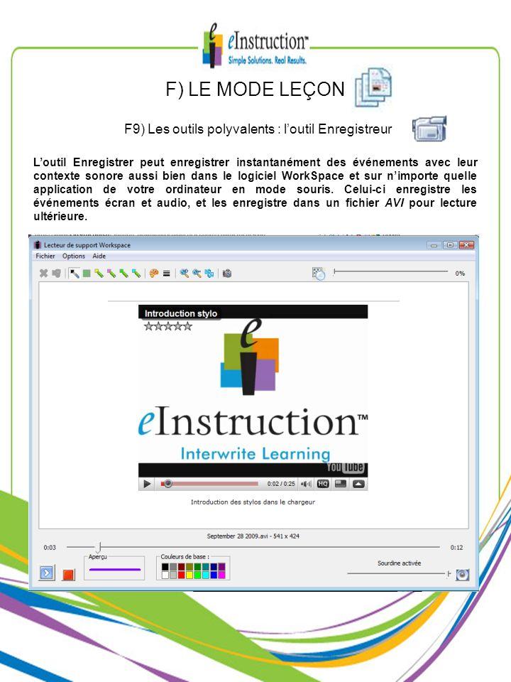 F9) Les outils polyvalents : l'outil Enregistreur