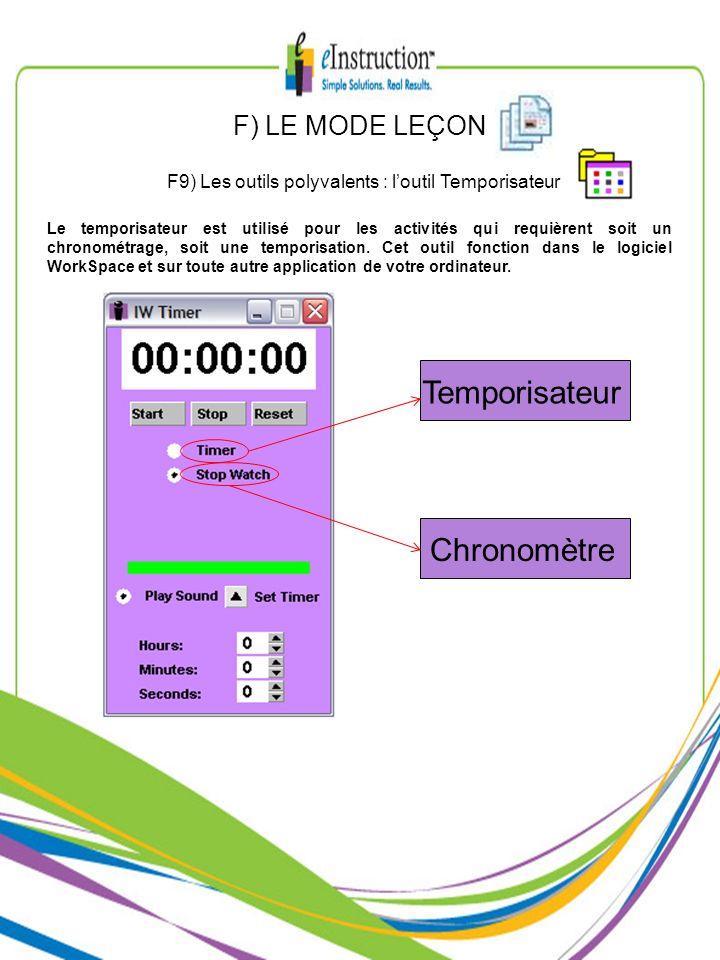 F9) Les outils polyvalents : l'outil Temporisateur