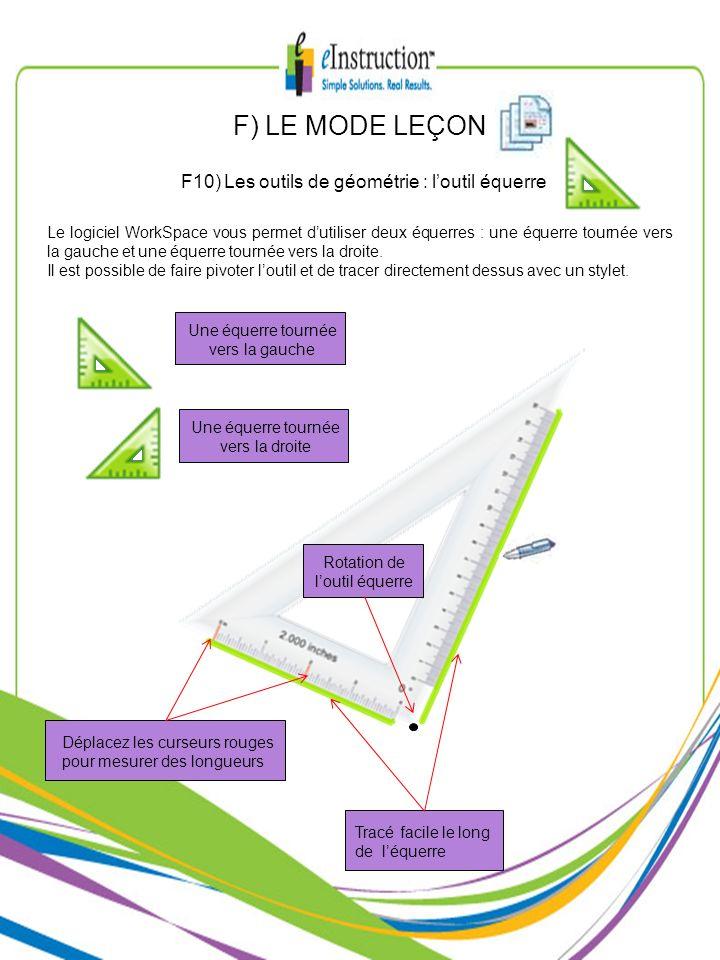 F) LE MODE LEÇON F10) Les outils de géométrie : l'outil équerre