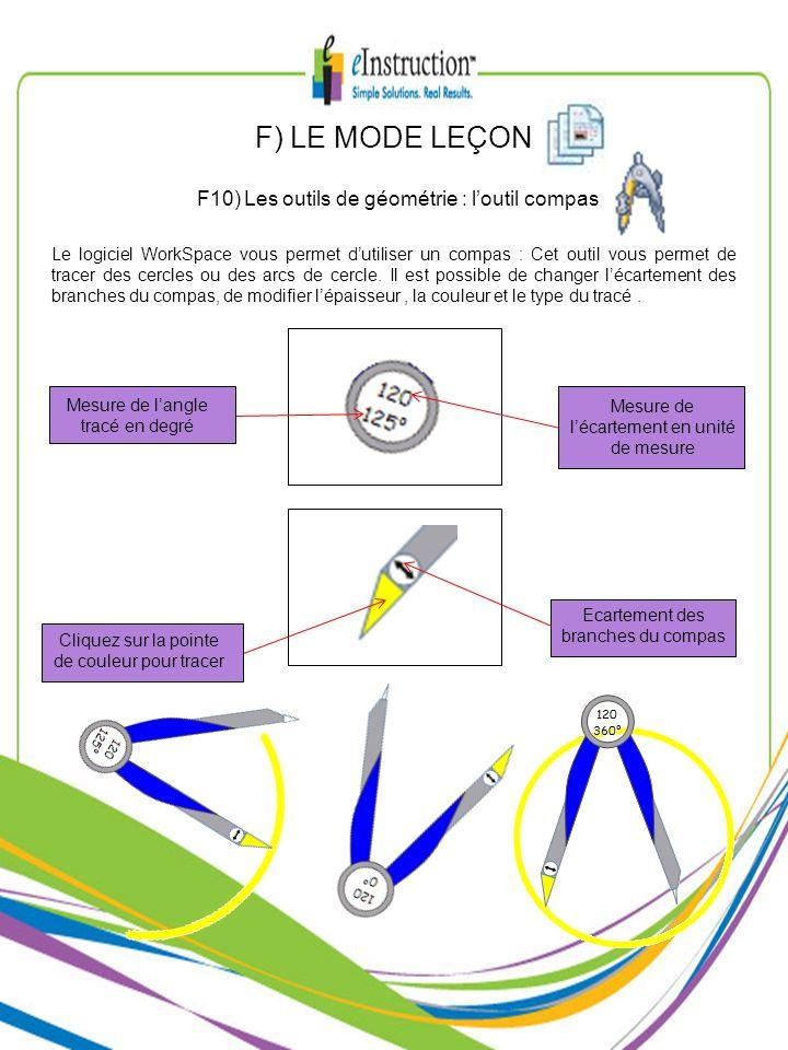 F) LE MODE LEÇON F10) Les outils de géométrie : l'outil compas