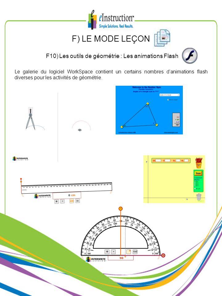 F10) Les outils de géométrie : Les animations Flash