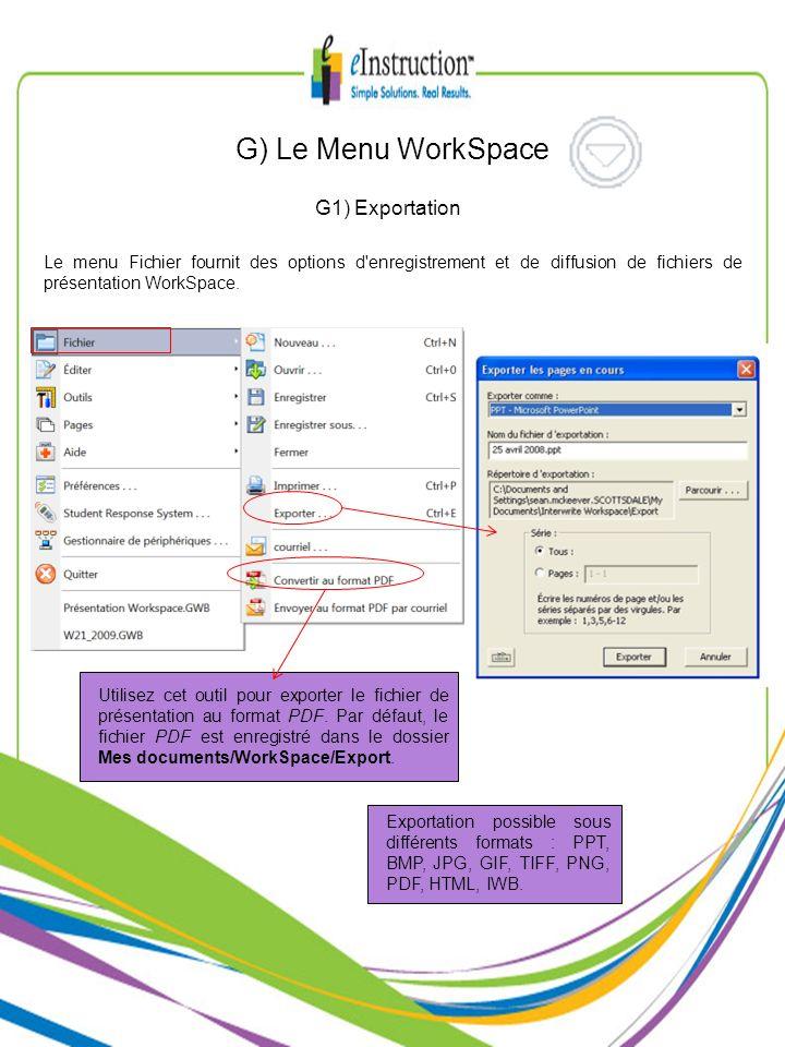 G) Le Menu WorkSpace G1) Exportation