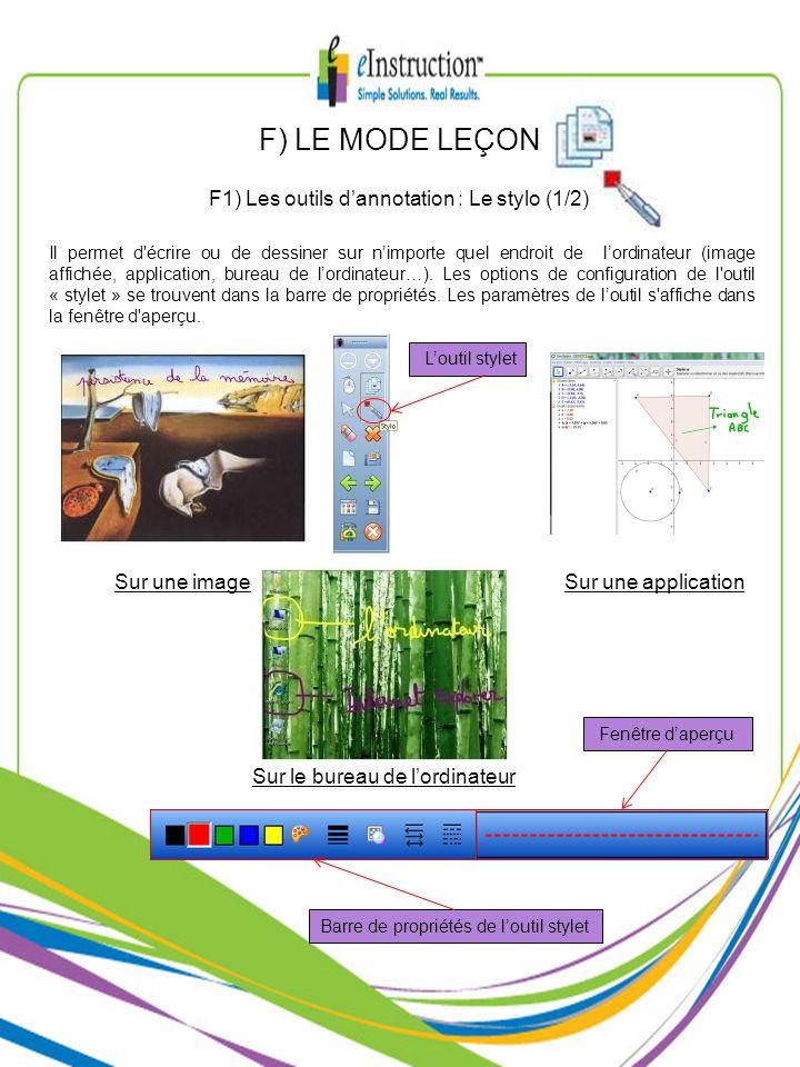 F) LE MODE LEÇON F1) Les outils d'annotation : Le stylo (1/2)