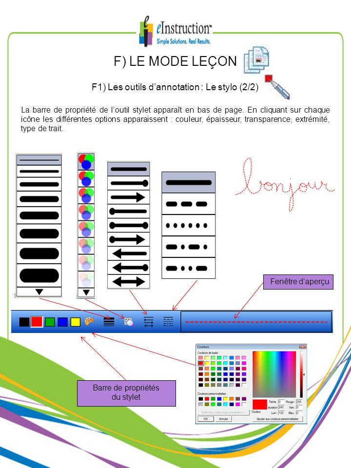 F1) Les outils d'annotation : Le stylo (2/2)