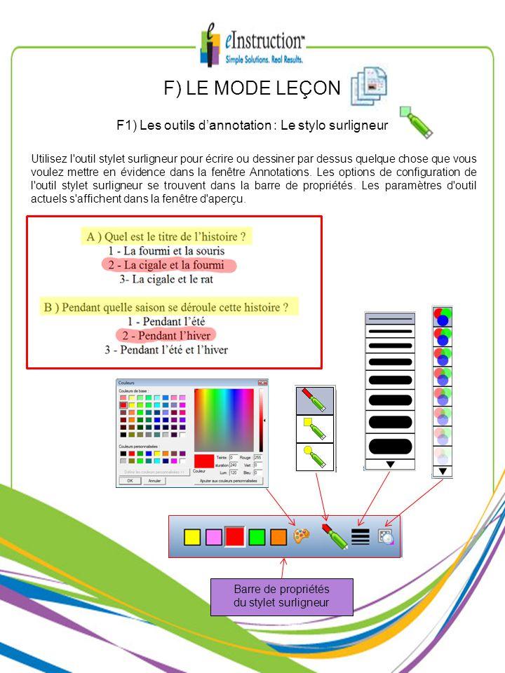 F1) Les outils d'annotation : Le stylo surligneur