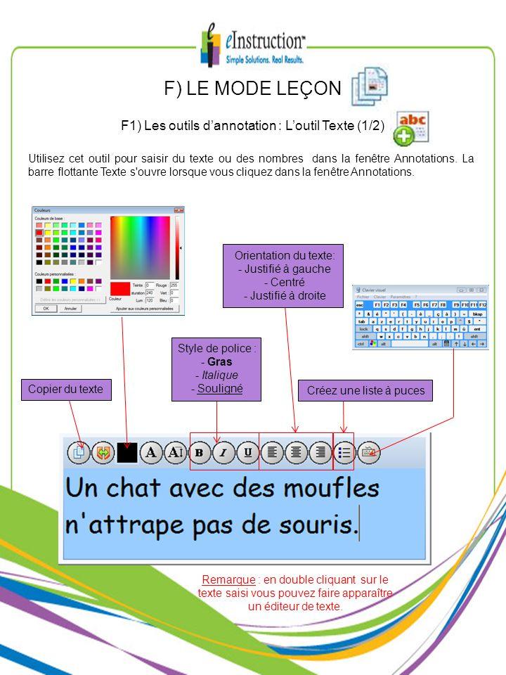 F1) Les outils d'annotation : L'outil Texte (1/2)