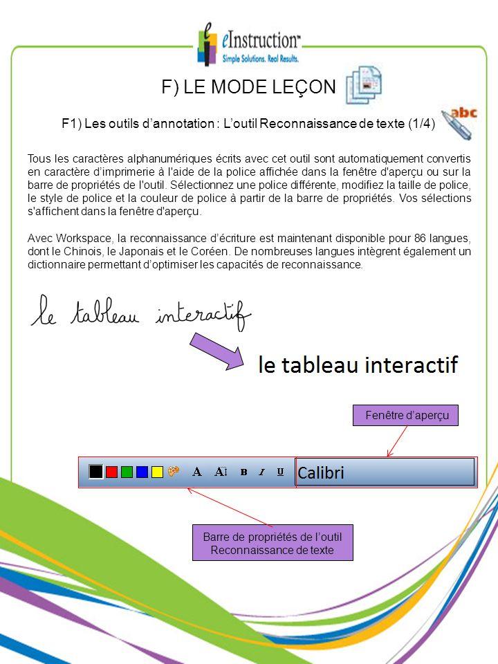 F) LE MODE LEÇONF1) Les outils d'annotation : L'outil Reconnaissance de texte (1/4)