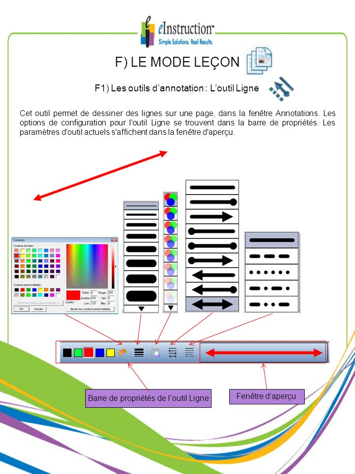 F) LE MODE LEÇON F1) Les outils d'annotation : L'outil Ligne