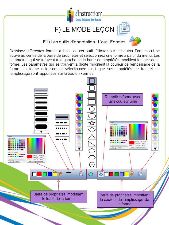 F) LE MODE LEÇON F1) Les outils d'annotation : L'outil Formes