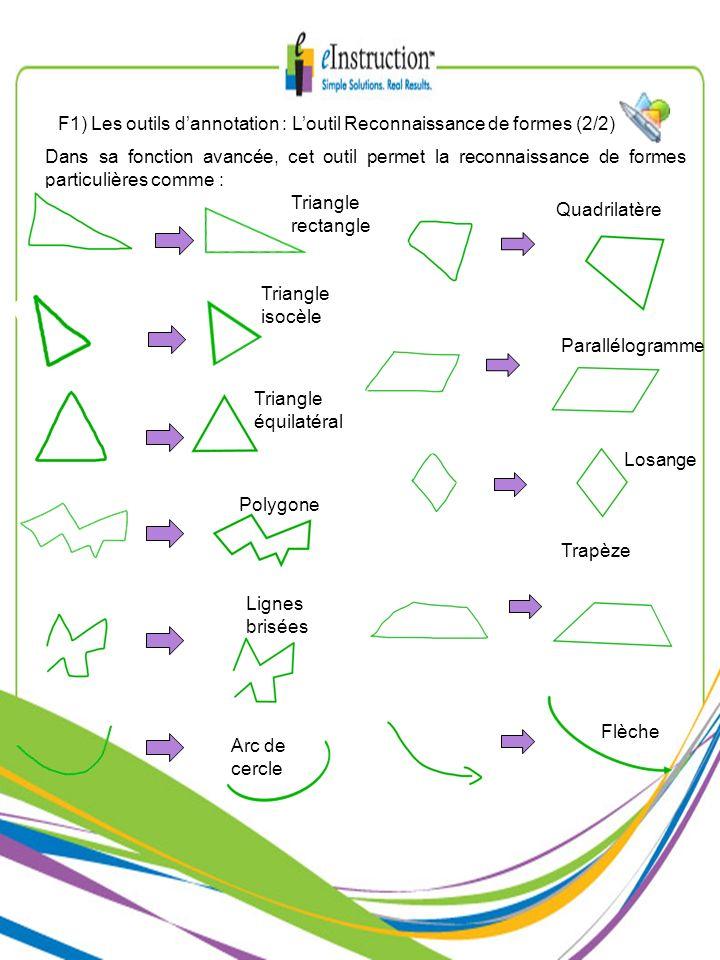 F1) Les outils d'annotation : L'outil Reconnaissance de formes (2/2)
