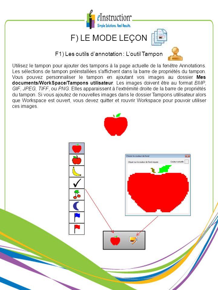 F1) Les outils d'annotation : L'outil Tampon