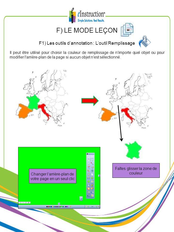 F) LE MODE LEÇON F1) Les outils d'annotation : L'outil Remplissage