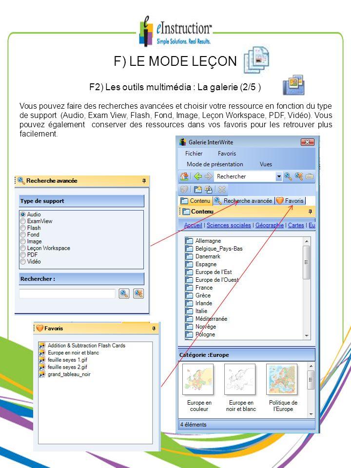 F2) Les outils multimédia : La galerie (2/5 )