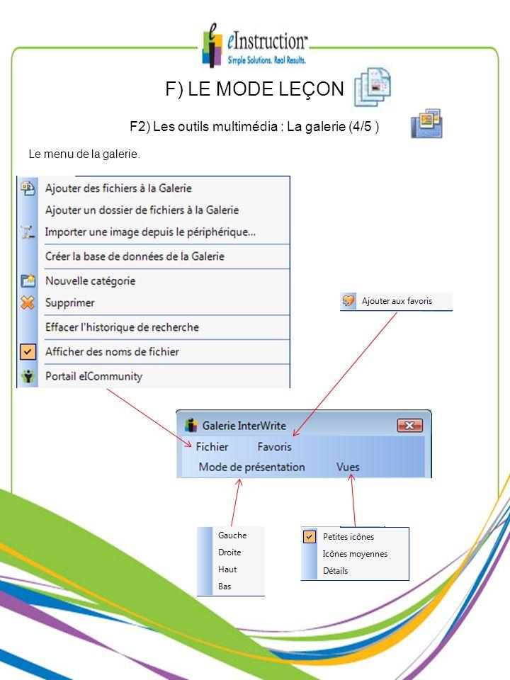 F2) Les outils multimédia : La galerie (4/5 )