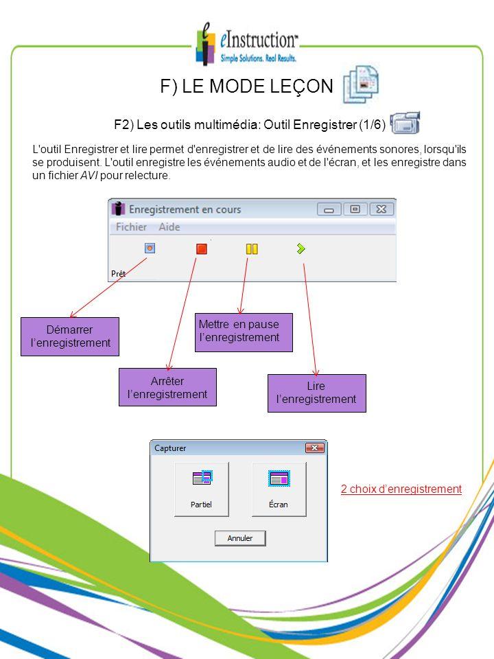 F2) Les outils multimédia: Outil Enregistrer (1/6)