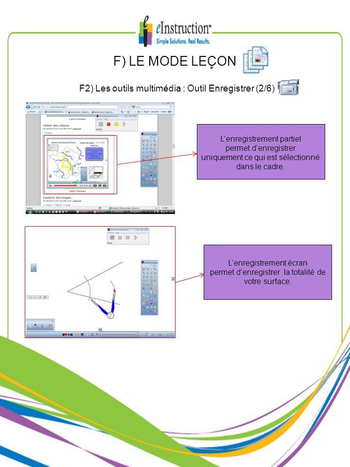 F) LE MODE LEÇON F2) Les outils multimédia : Outil Enregistrer (2/6)