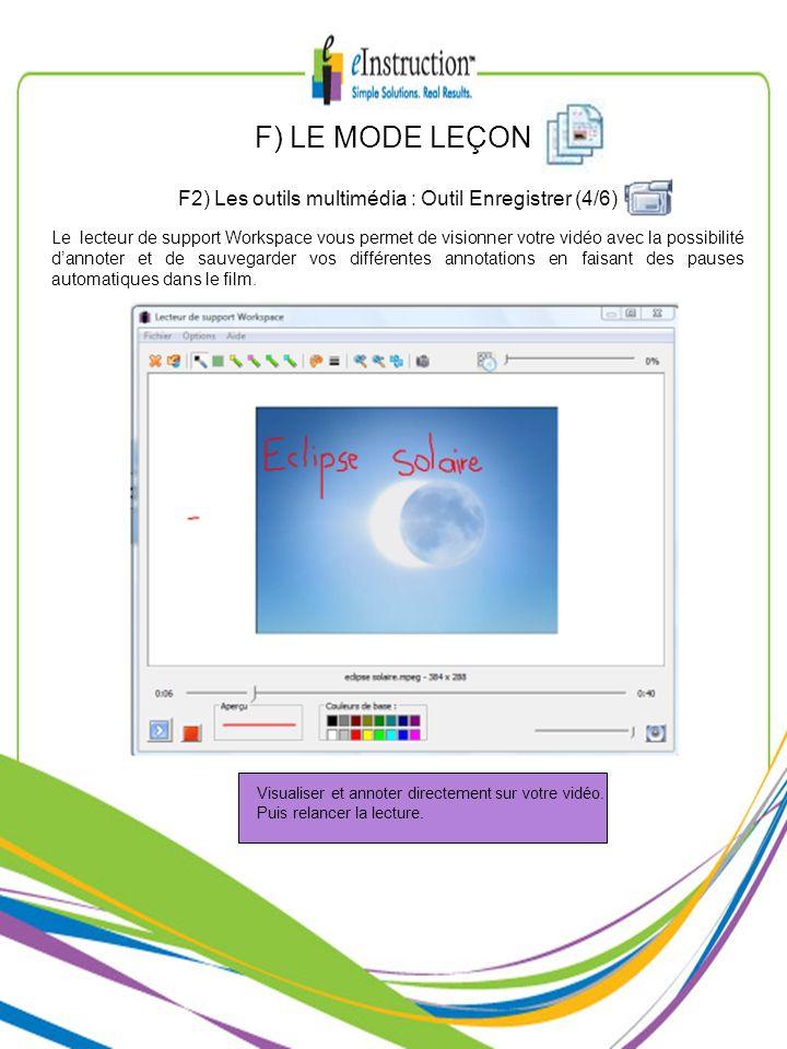 F2) Les outils multimédia : Outil Enregistrer (4/6)