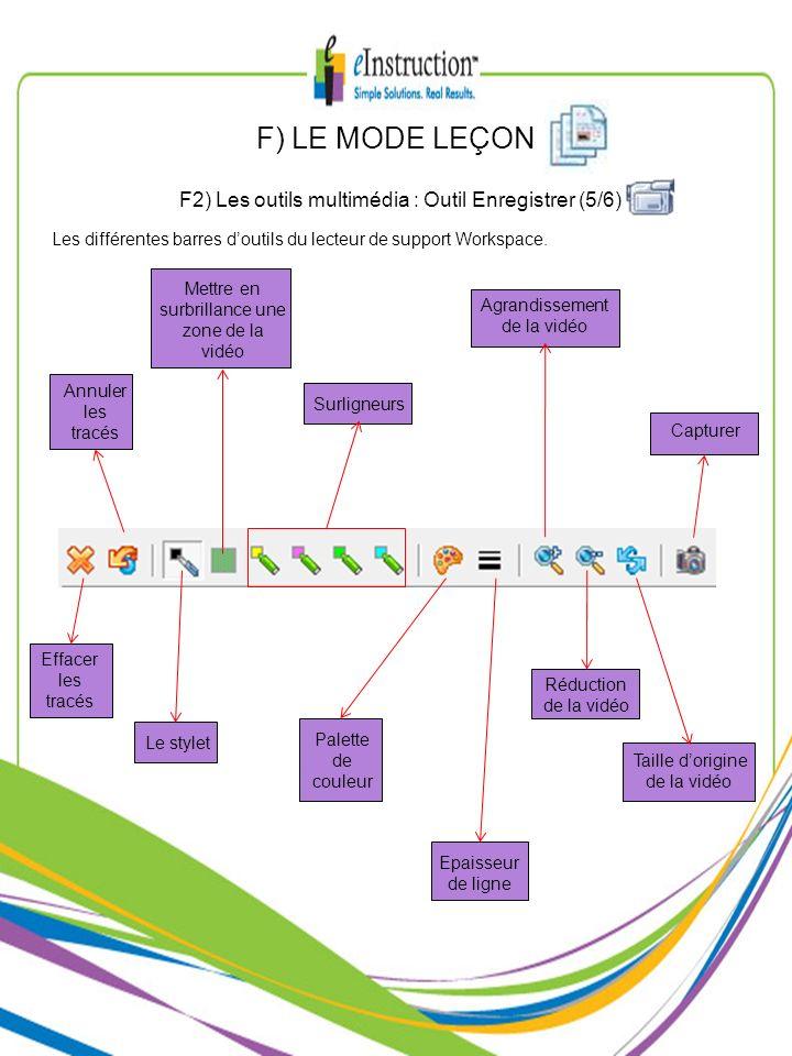 F) LE MODE LEÇON F2) Les outils multimédia : Outil Enregistrer (5/6)