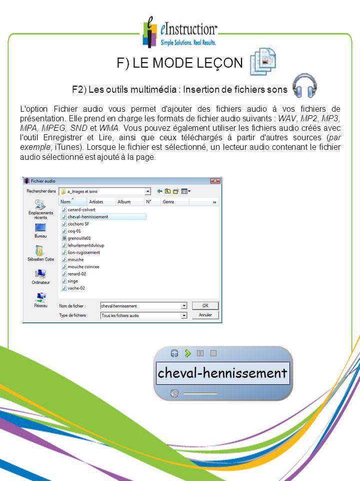 F2) Les outils multimédia : Insertion de fichiers sons