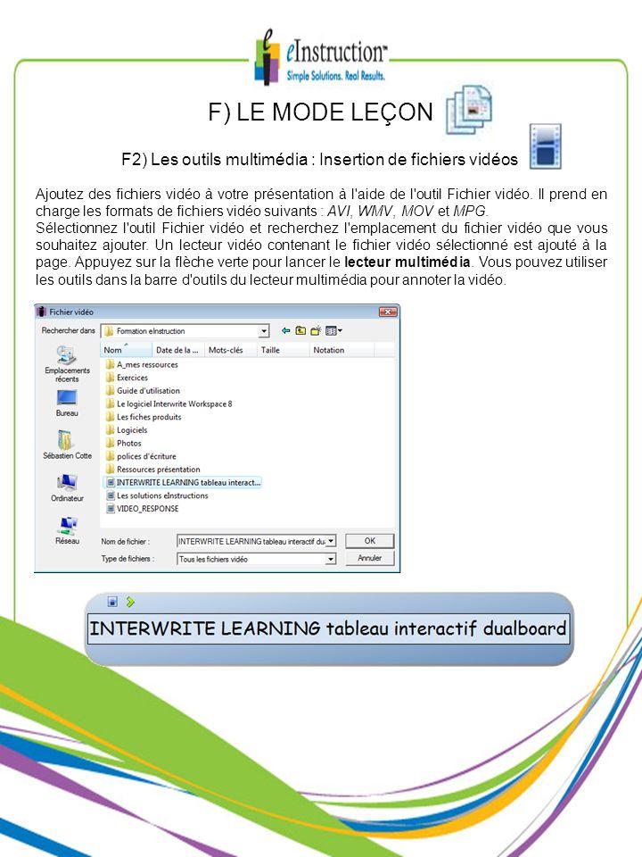 F2) Les outils multimédia : Insertion de fichiers vidéos
