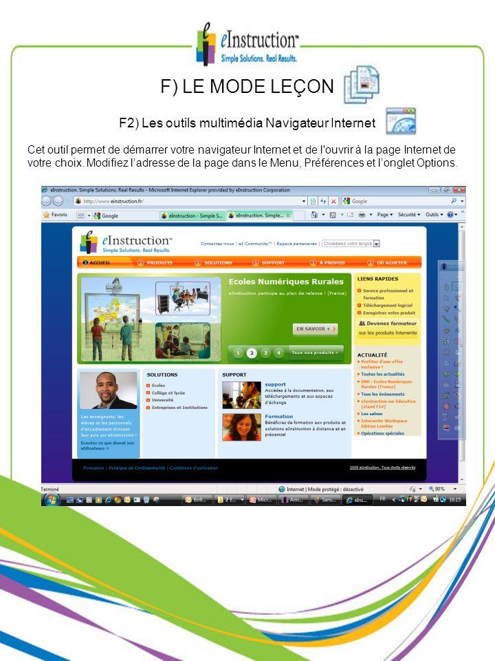 F2) Les outils multimédia Navigateur Internet