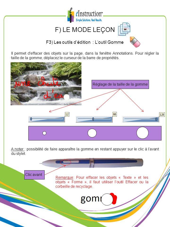F3) Les outils d'édition : L'outil Gomme