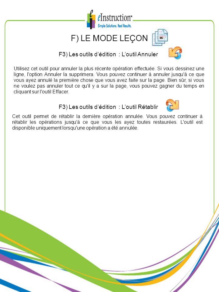 F) LE MODE LEÇON F3) Les outils d'édition : L'outil Annuler