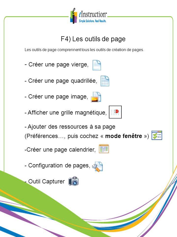 F4) Les outils de page Créer une page vierge,