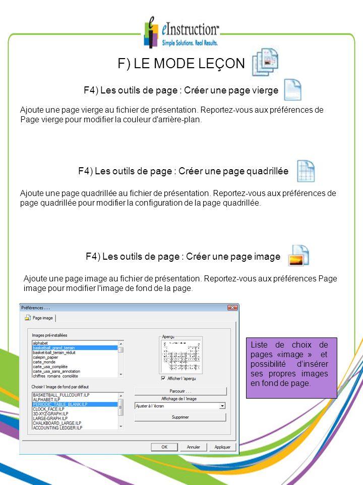 F) LE MODE LEÇON F4) Les outils de page : Créer une page vierge