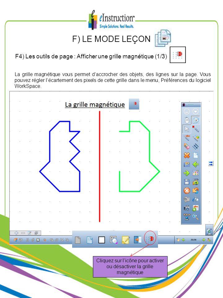 Cliquez sur l'icône pour activer ou désactiver la grille magnétique