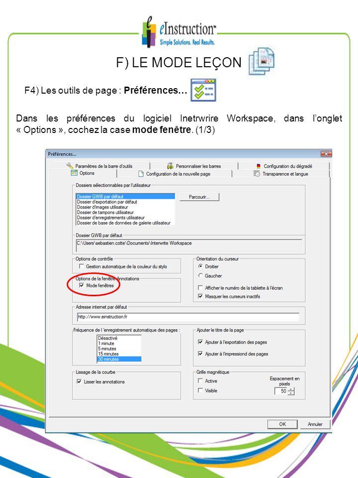 F) LE MODE LEÇON F4) Les outils de page : Préférences…