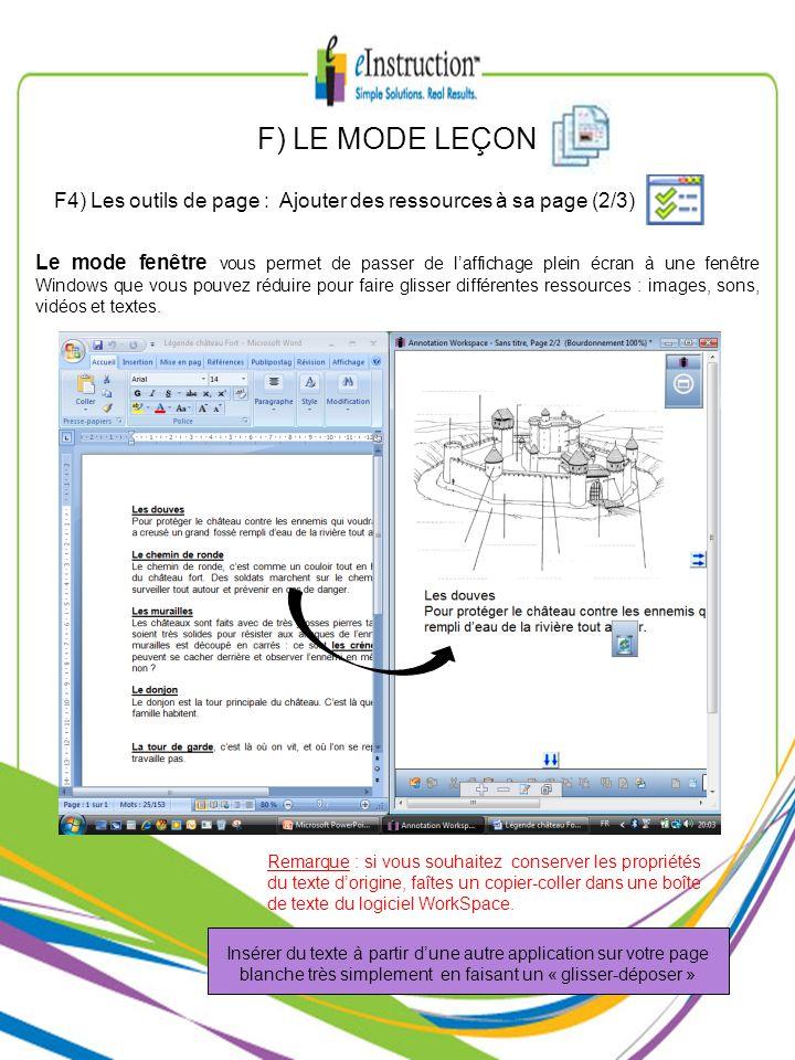 F) LE MODE LEÇON F4) Les outils de page : Ajouter des ressources à sa page (2/3)