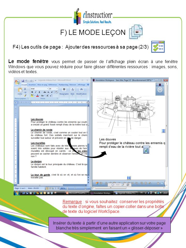 F) LE MODE LEÇONF4) Les outils de page : Ajouter des ressources à sa page (2/3)