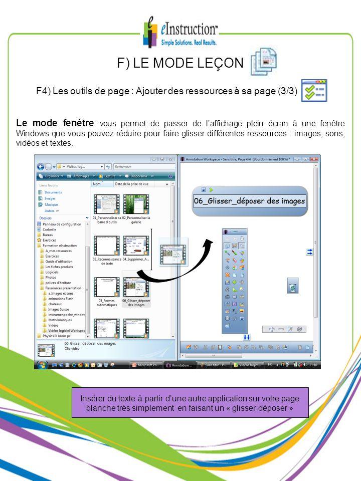F) LE MODE LEÇONF4) Les outils de page : Ajouter des ressources à sa page (3/3)