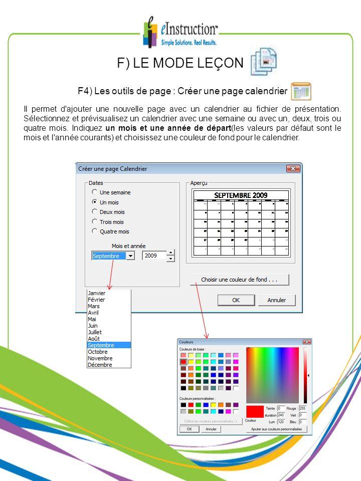 F4) Les outils de page : Créer une page calendrier