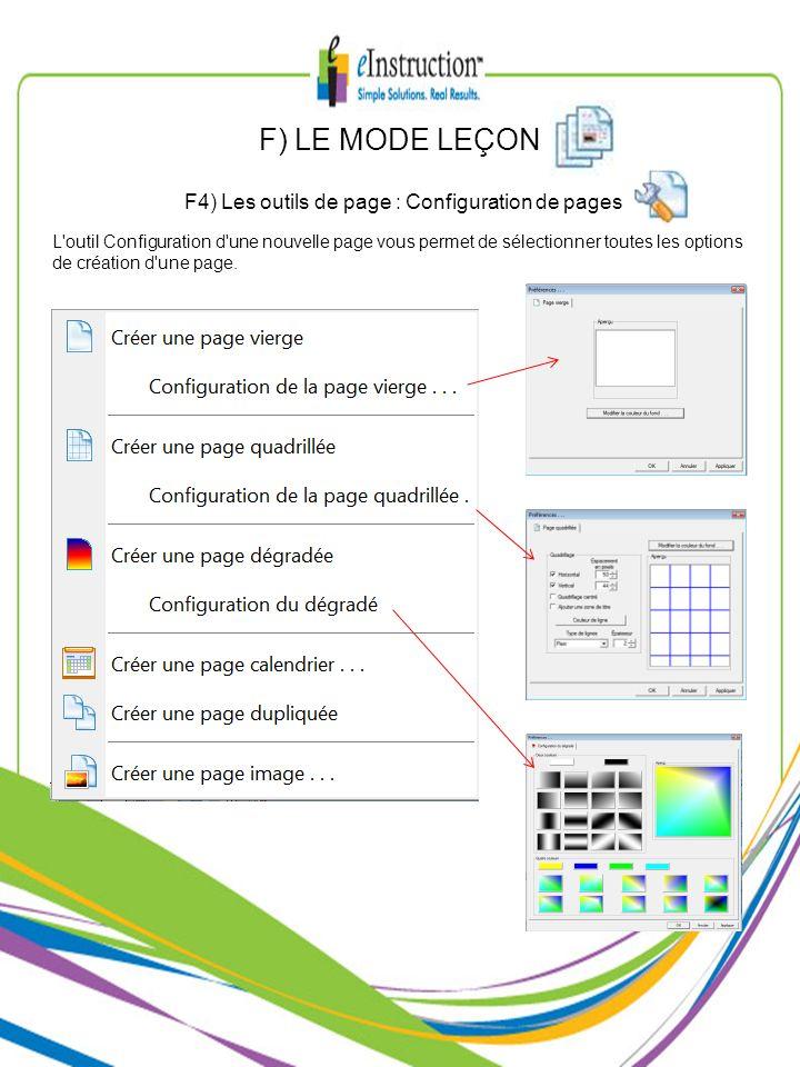 F4) Les outils de page : Configuration de pages