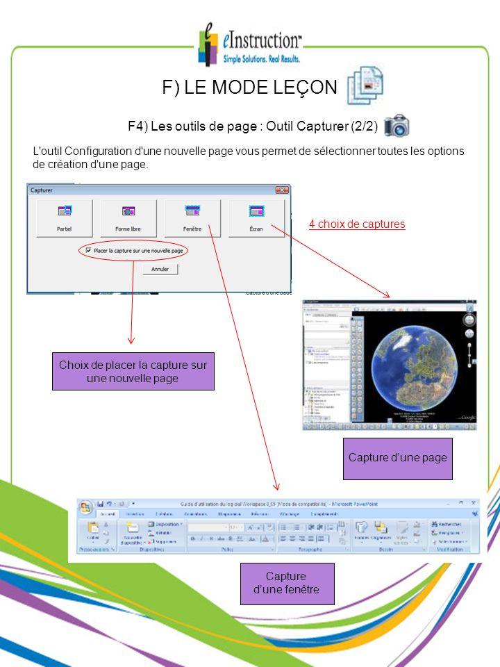 F) LE MODE LEÇON F4) Les outils de page : Outil Capturer (2/2)