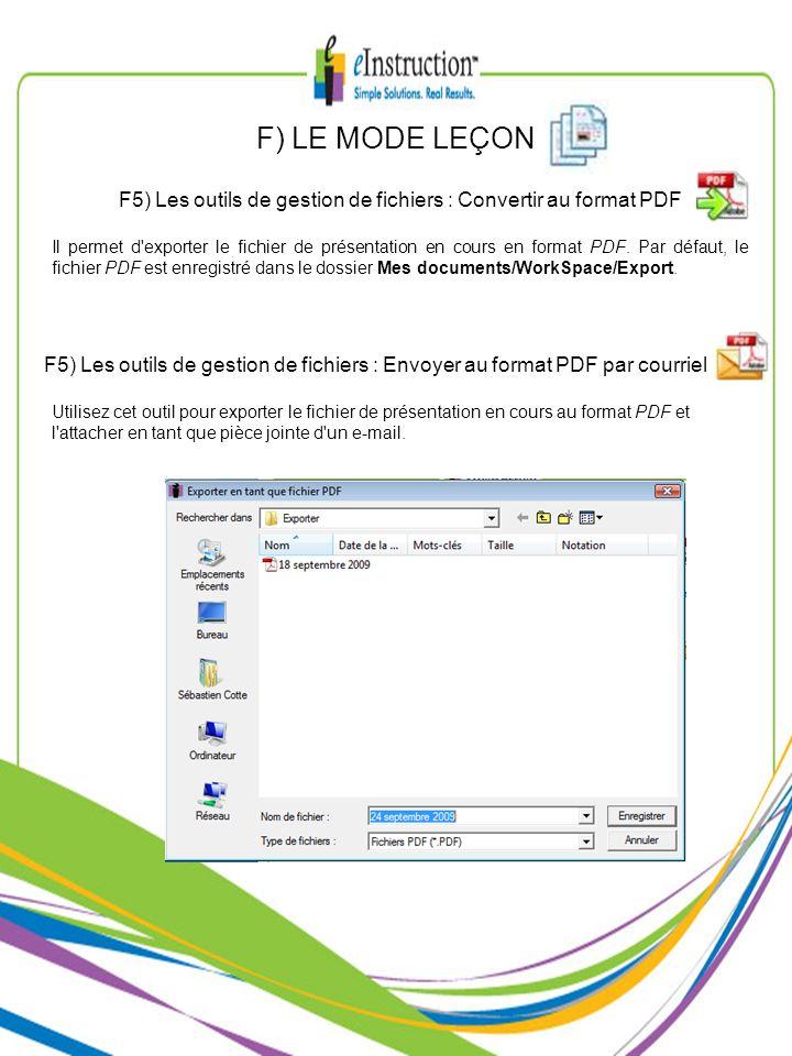 F5) Les outils de gestion de fichiers : Convertir au format PDF