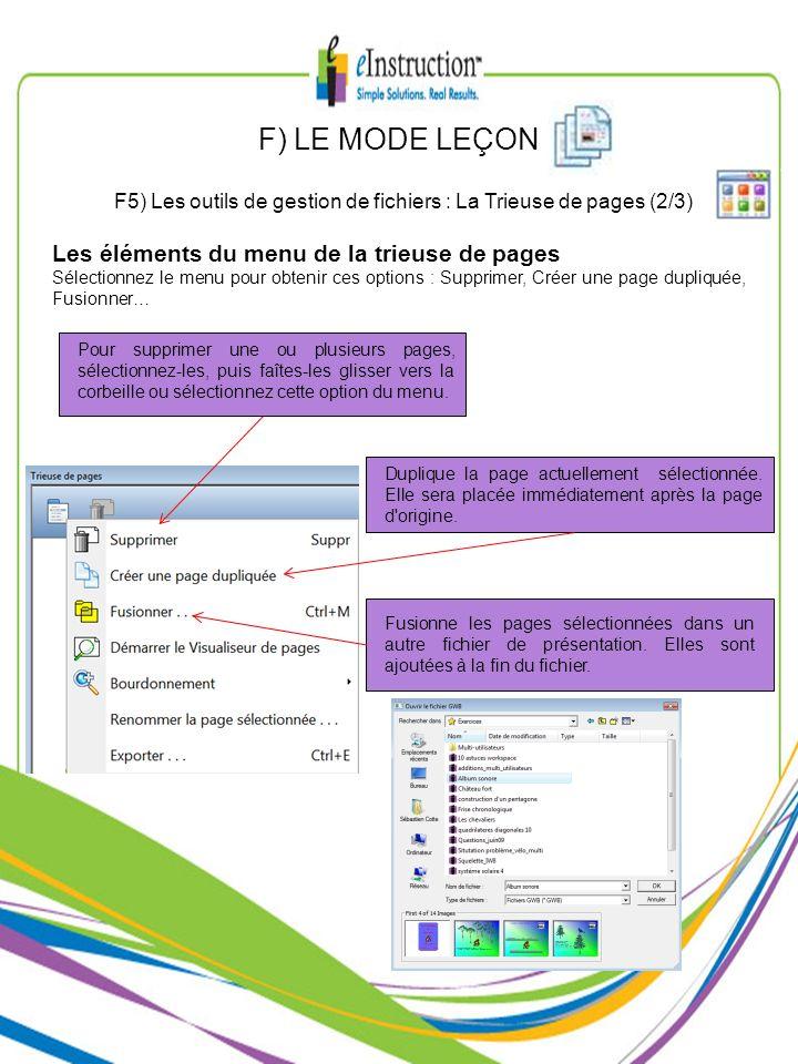 F5) Les outils de gestion de fichiers : La Trieuse de pages (2/3)