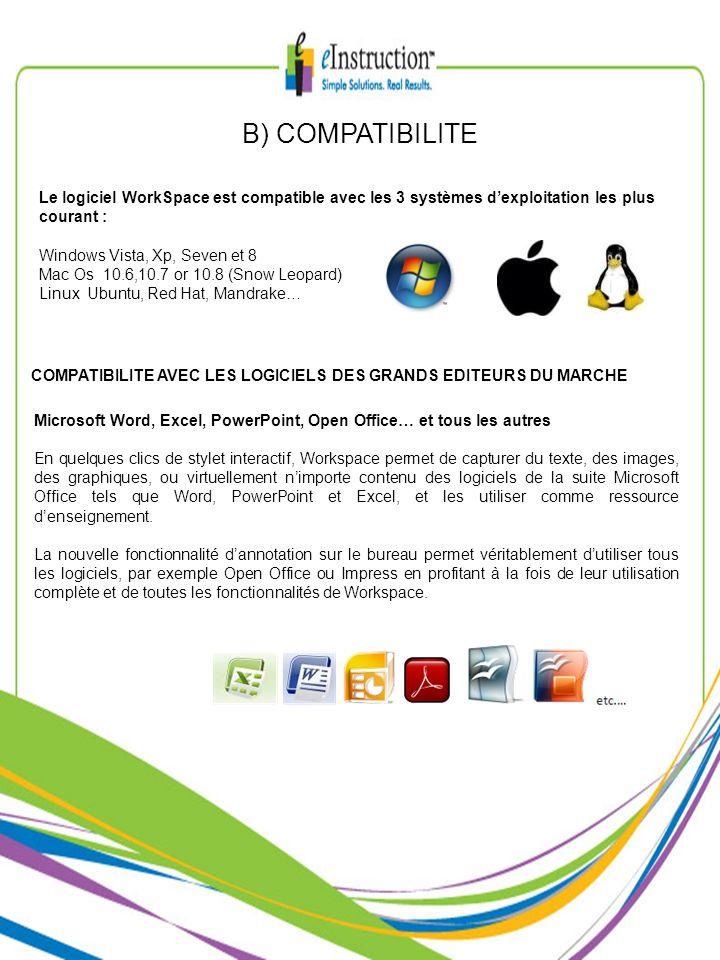B) COMPATIBILITELe logiciel WorkSpace est compatible avec les 3 systèmes d'exploitation les plus courant :