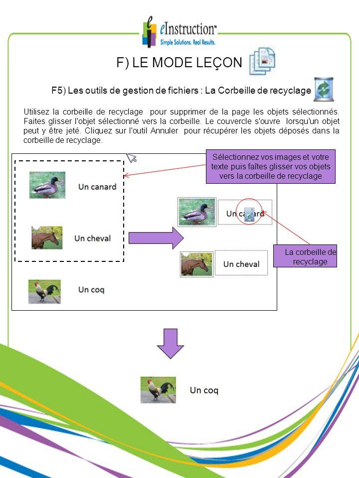 F) LE MODE LEÇONF5) Les outils de gestion de fichiers : La Corbeille de recyclage.
