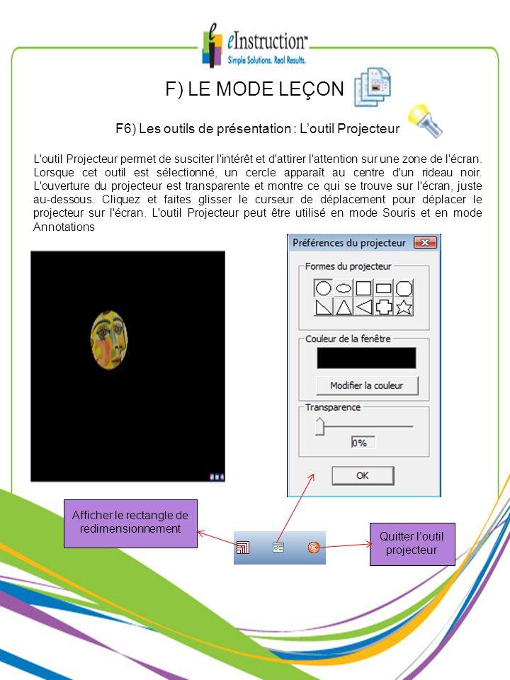 F) LE MODE LEÇON F6) Les outils de présentation : L'outil Projecteur