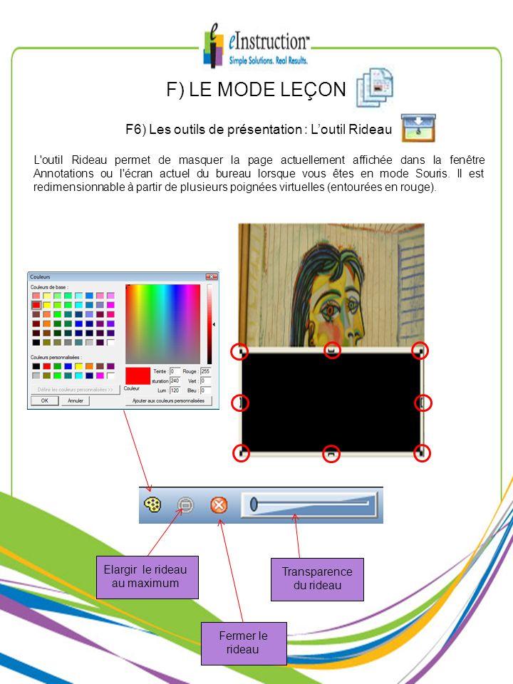 F) LE MODE LEÇON F6) Les outils de présentation : L'outil Rideau